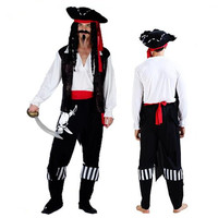 Men Pirates Costume Ghost Head Black White Pirate Cosplay Clothing Set Carnival Party Fancy Dress Supplies
