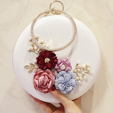 Flower Box Beaded Designer Round Evening Bag Big Female Wedding Day Clutch Bags PU Leather Shoulder Bag with Chain Drop Shipping factory direct selling wholesale big round hard case crystal box clutch bag evening bags black gold red purple fuchsia