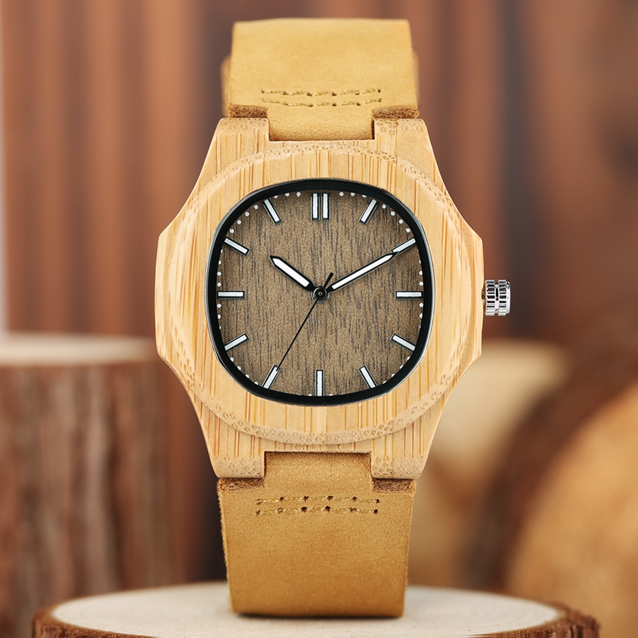 2017 New arrivals Wood Watch Natural Light Wooden Face Fashion Genuine Leather Bangle Unisex Gifts for Men Women Reloj de madera Christmas Gifts (7)