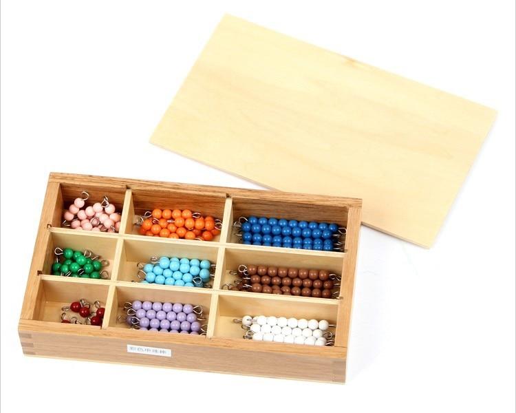 En bois Montessori jouets éducatifs pour bébés apprentissage jouets bâton coloré perles Math jouets