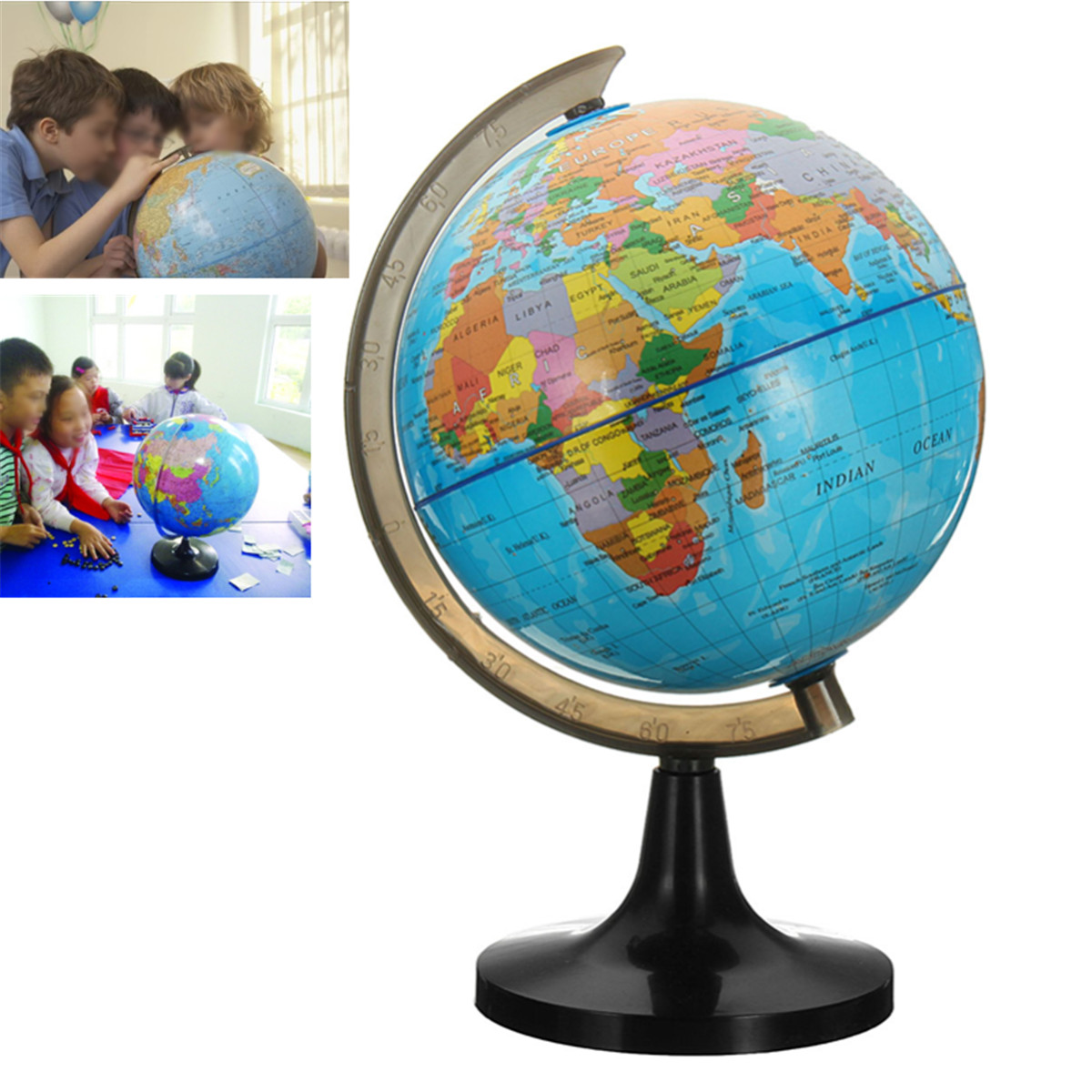 14 cm Globe World Earth Tellurion Globe World Map With Stand Geography Educational Toy Home Office Ornament Kids Gift diy scratch globe 3d stereo assembly globe world map travel kid child toy gift