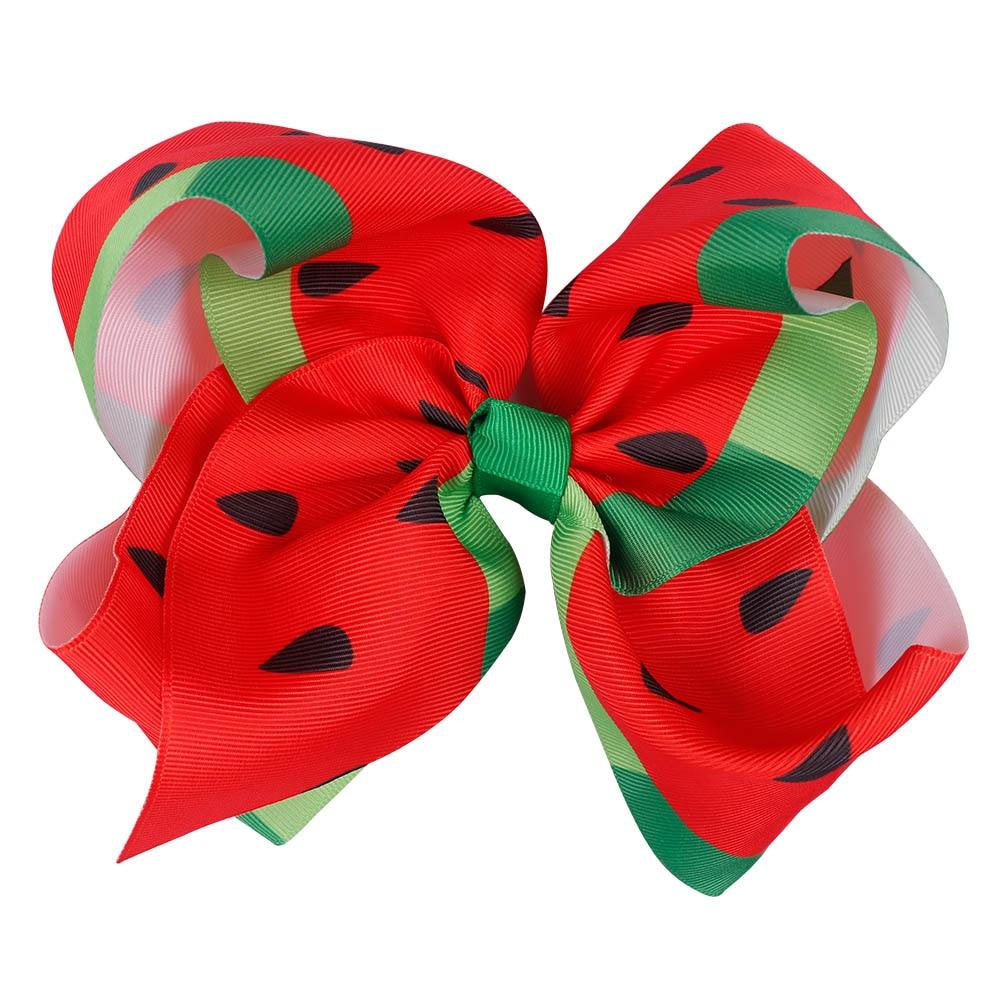 7 Inch Large printed Hair Bow Butterfly Polka Dots Rainbow Hairpin Big Hair Clip Handmade Hair Accessories For Kids