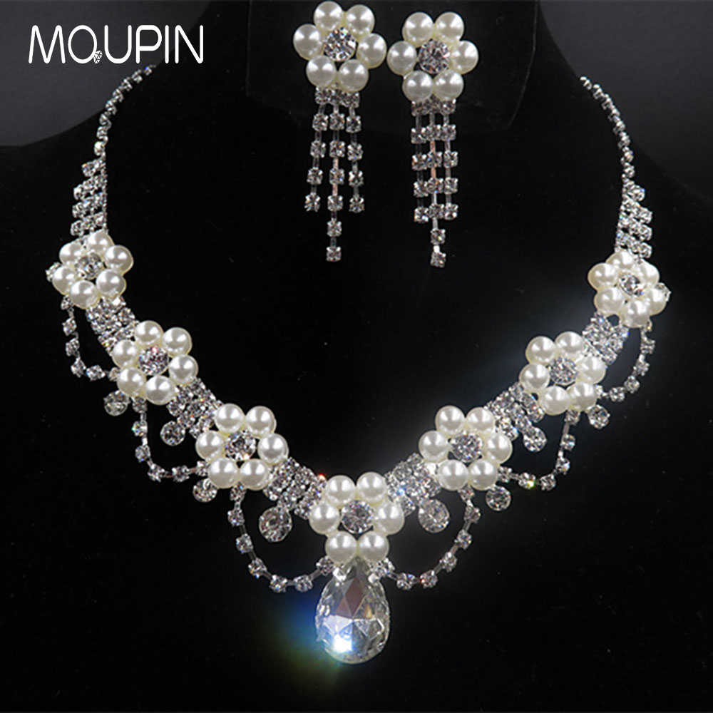 MQUPIN Fashion Simulated Pearl Jewelry Sets Women Crystal Wedding Bridal Flower Silver Chain Pendant Chocke Necklace Earring set