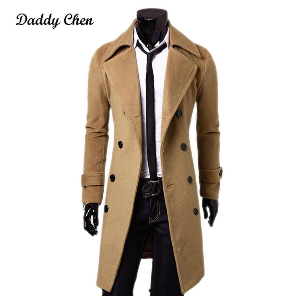 2018 Новая Осенняя куртка Тренч Мужская брендовая одежда Высокое качество модное мужское длинное пальто хлопок Мужское пальто Big большой размер
