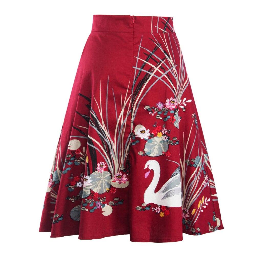 d3d3249cc Two Per Thousand High Waist Pleated Midi Skirt Women Floral Print Long A-Line  Skirts Winter Skirts Faldas largas Saia feminina