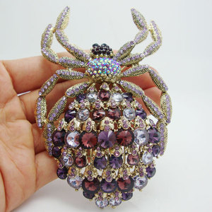 Image 1 - New Classic Spider Brooch Luxury Purple Rhinestone Crystal Gilded Animal Large Brooches Pin Pendant