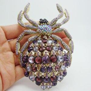 Image 1 - Novo clássico aranha broche luxo roxo strass cristal dourado animal grande broche pino pingente