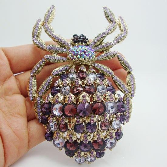 Novo clássico aranha broche luxo roxo strass cristal dourado animal grande broche pino pingente
