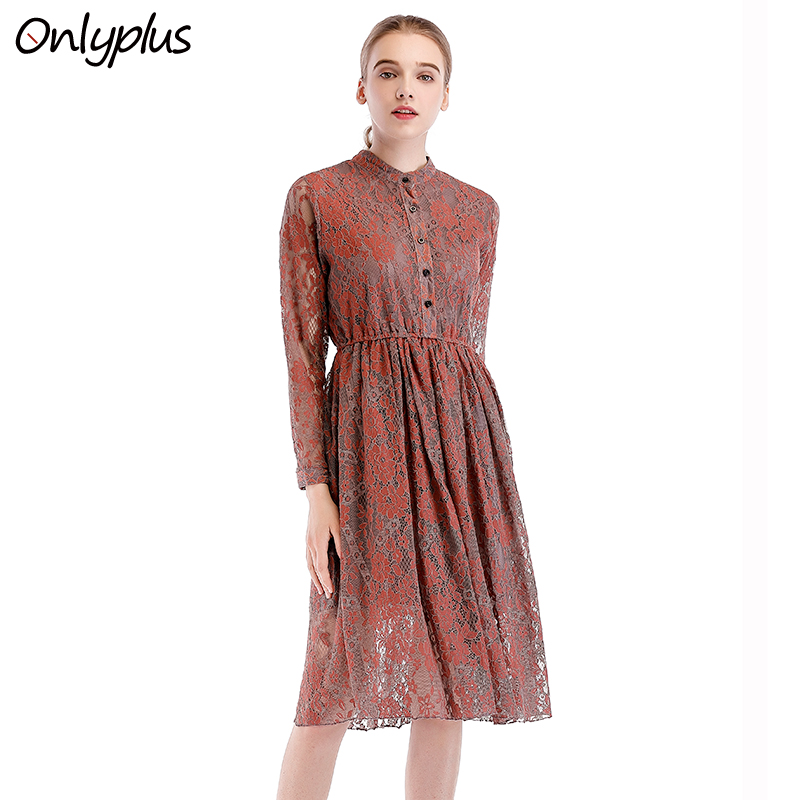 ONLY PLUS Spring Long Sleeve Women Dress Lace Floral