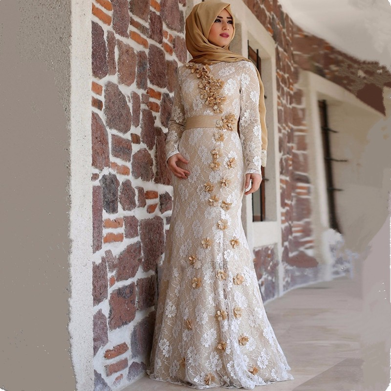 Elegant Champagne Lace Muslim Evening Dress Long Sleeve Flowers Mermaid font b Hijab b font Formal