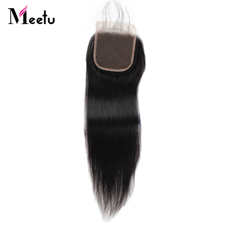 Meetu Hair4x4 Middle Part Indian Straight Hair Closure Natural Hairline Non Remy Hair 8-20Inch Swiss Lace Closure Baby Hair Sale
