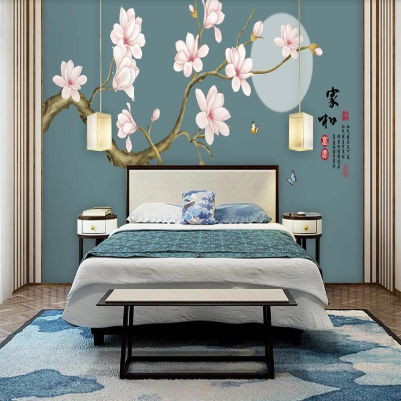 Magnolia flower rich hand painted meticulous flower and bird background wall in Fabric Textile Wallcoverings from Home Improvement