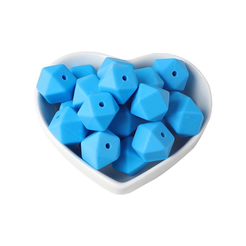 Joepada 100Pcs 14mm Hexagon Silicone Beads Food grade Baby Teething Beads DIY Baby Teething Necklace Accessories Baby Teether
