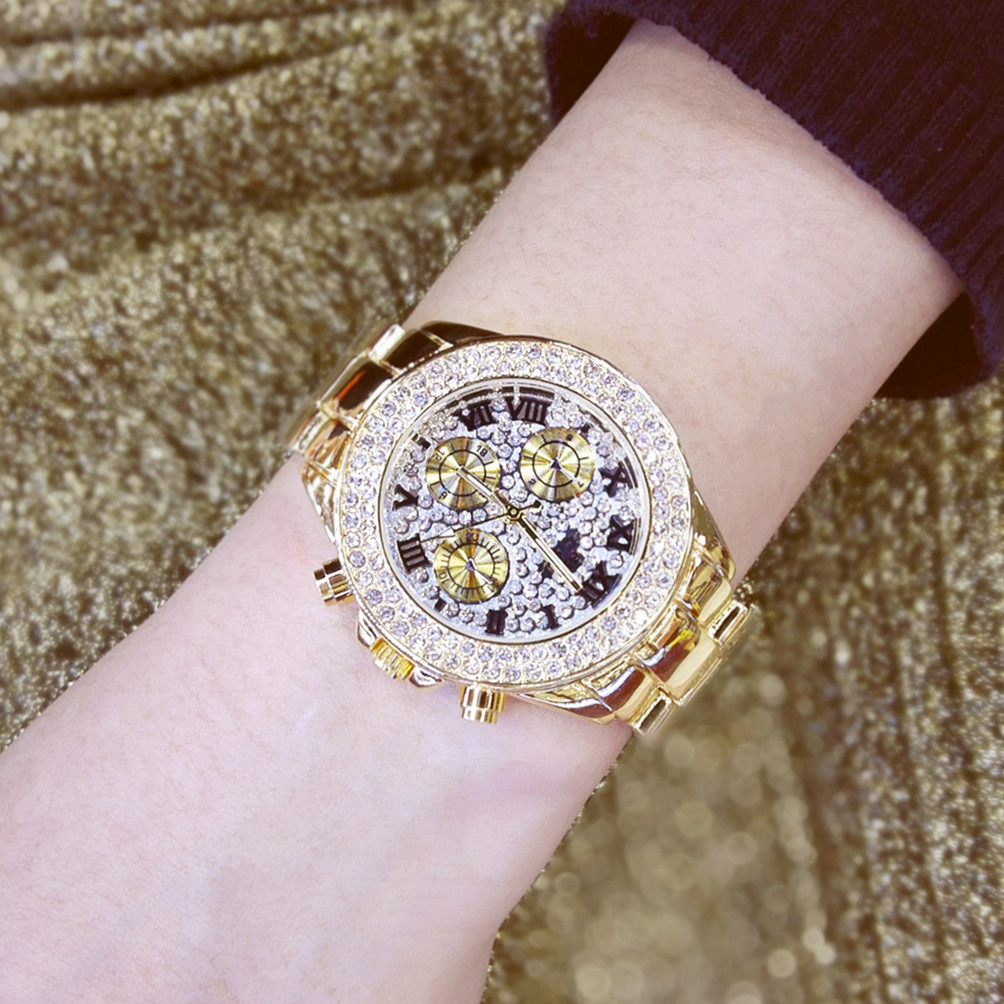 Gold Silver Plus Popular High-end Linked List Roman Digital Rhinestone Watch Ladies Gift  Fashion & Casual