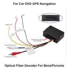 Elongate RCA Aux audio fibre converter kit fit Benz Porsche MOST fiber optics power amplifier aftermarket