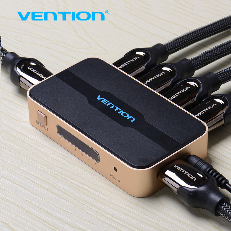 Venção HDMI Switch Splitter 5 entrada 1 saída HDMI Switcher 5X1 para XBOX 360 PS4/3 Inteligente Android HDTV 4 K * 2 K HDMI 5 Portas adaptador