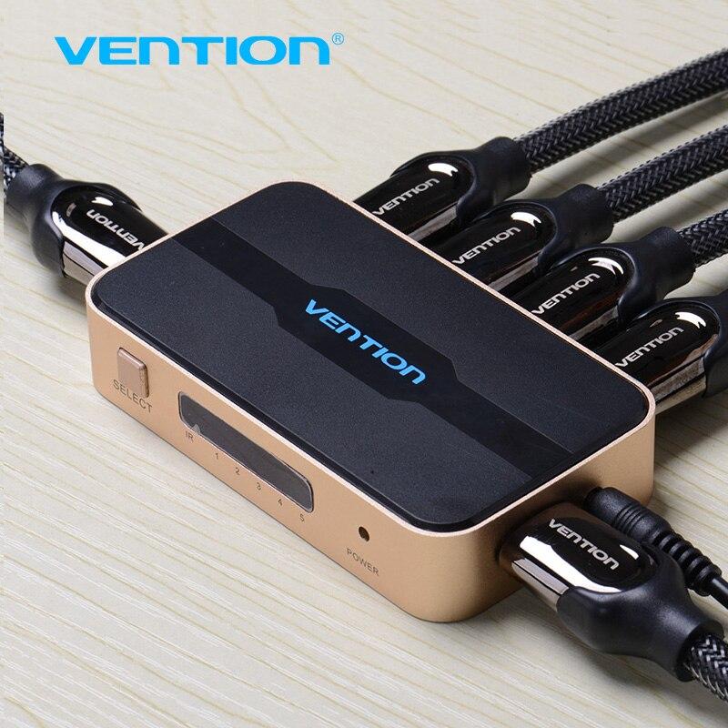 Venção HDMI Switch Splitter 5 entrada 1 saída HDMI Switcher 5X1 para XBOX 360 PS4/3 Inteligente Android HDTV 4 K * 2 K HDMI 5 Portas adaptador