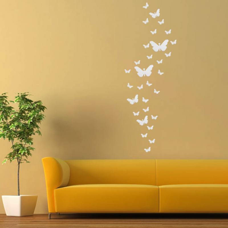 Promo 30Pcs DIY 3D Silver Acrylic Butterfly Modern Design Home Decor ...