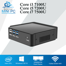 Pocket Mini PC DDR4 RAM Office Computer Core i7 7500U Windows 10 Mini Computer Desktop CPU i3 7100U i5 7200U 4K Player HTPC