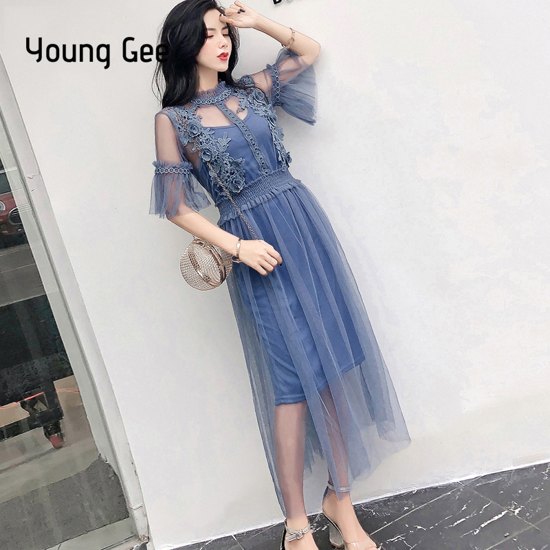 Young Gee Fashion Women Elegant Vintage Sweet Lace Floral Pink Dress Sexy Sheer Casual Trunic Mesh Streetwear Dresses vestidos