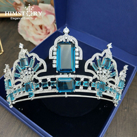 HIMSTORY Big Squre Paved Cubic Zircon Crown CZ Tiaras Vintage Blue Crystal Bridal Diadema Wedding Hair Accessories