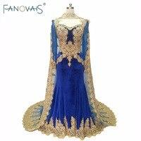 Royal Blue Nhung Buổi Tối Gowns Cape 2017 Kafatan Hồi Giáo Vàng Thêu evening dress dài tay áo mother of the bride Dresses