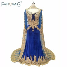 ФОТО Royal Blue Velvet Evening Gowns Cape 2018 Kafatan Muslim Gold Embroidery evening dress long sleeves mother of the bride Dresses