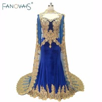 Royal Blue Velvet Evening Gowns Cape 2019 Kafatan Muslim Gold Embroidery evening dress long sleeves mother of the bride Dresses