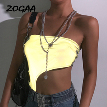 ZOGAA Sexy Reflective Wrapped Chest Women Bodysuit Midriff-baring Hollow Strapless Shoulder Streetwear Top Female Ladies Tops sexy midriff baring tops