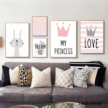 Pink Cartoon Nursery Girl Wall Picture Poster Print Rabbit Crown Baby Room Modern Canvas Painting Kids Children Art Mural