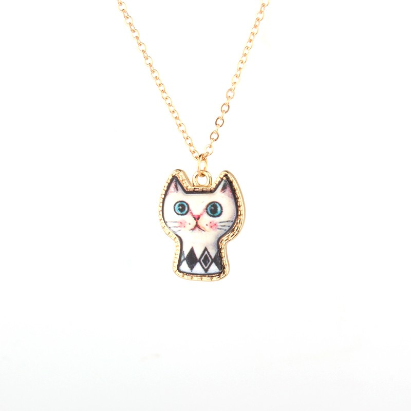 1PC Cute Cartoon Cat Animal Link Chain Necklace Gold Color Enamel Chains Necklaces For Women Jewelry For Child Christmas Gift 7