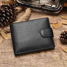 PNDME men's genuine leather multi-card position purse casual cross-section multi-function soft cowhide leather hand wallet