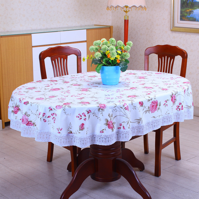 1Pcs 137cmx182cm Thicken Oval Pastoral Style Wave lace PVC waterproof Anti oil tablecloth home hotel table