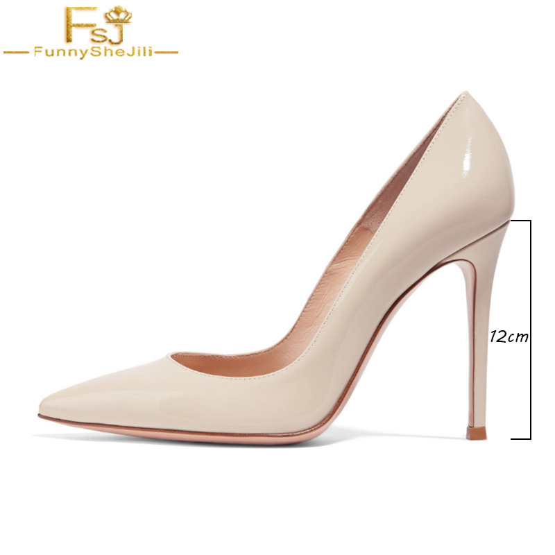 FSJ Classic Womens Beige Black High Thin Heels Shoes Pointed Toe Pumps Dress Office Ladies Slip On Spring Shoes Plus Size 41 43 new 2017 spring summer women low heels shoes pointed toe brand fashion womens pumps ladies plus size 41 sweet