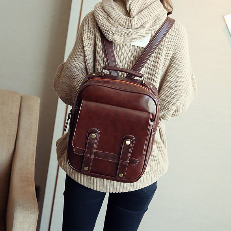 Joypessie Brand Vintage Backpack Mochilas Travel Pu Leather Backpack Women Backpacks For Teenage Girls School Bags