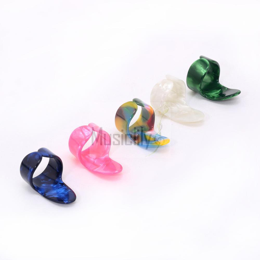 5Pcs 1.0mm Pearl Plastic Celluloid Guitar Bass Finger Picks Random Color
