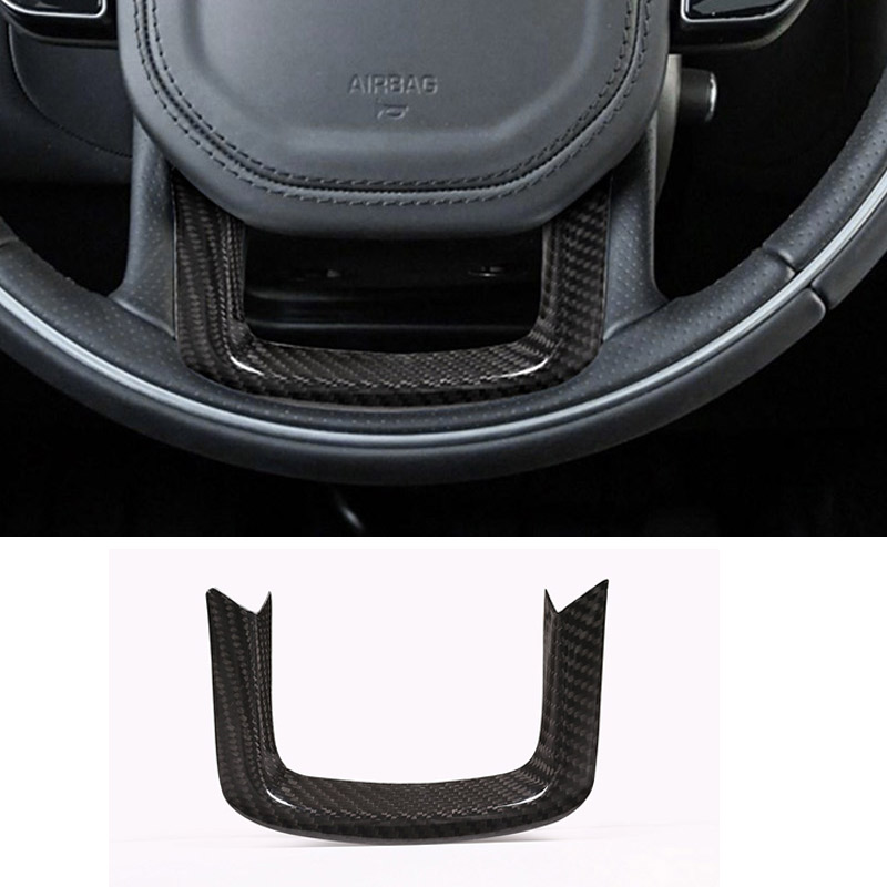 Real Carbon Fiber Car Steering Wheel Decoration Trim For Range Rover Sport 2014 2017 For RR
