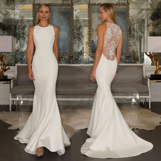 Ivory Simple Satin Mermaid Wedding Dresses 2017 New Crew Neck Sheer ...