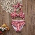 2 unids Determinado Del Bebé Del Verano Del Bebé Niños Niñas Bikini Set de Verano de Rayas Arco de trajes de Baño Traje de Baño traje de Baño Ropa de Playa
