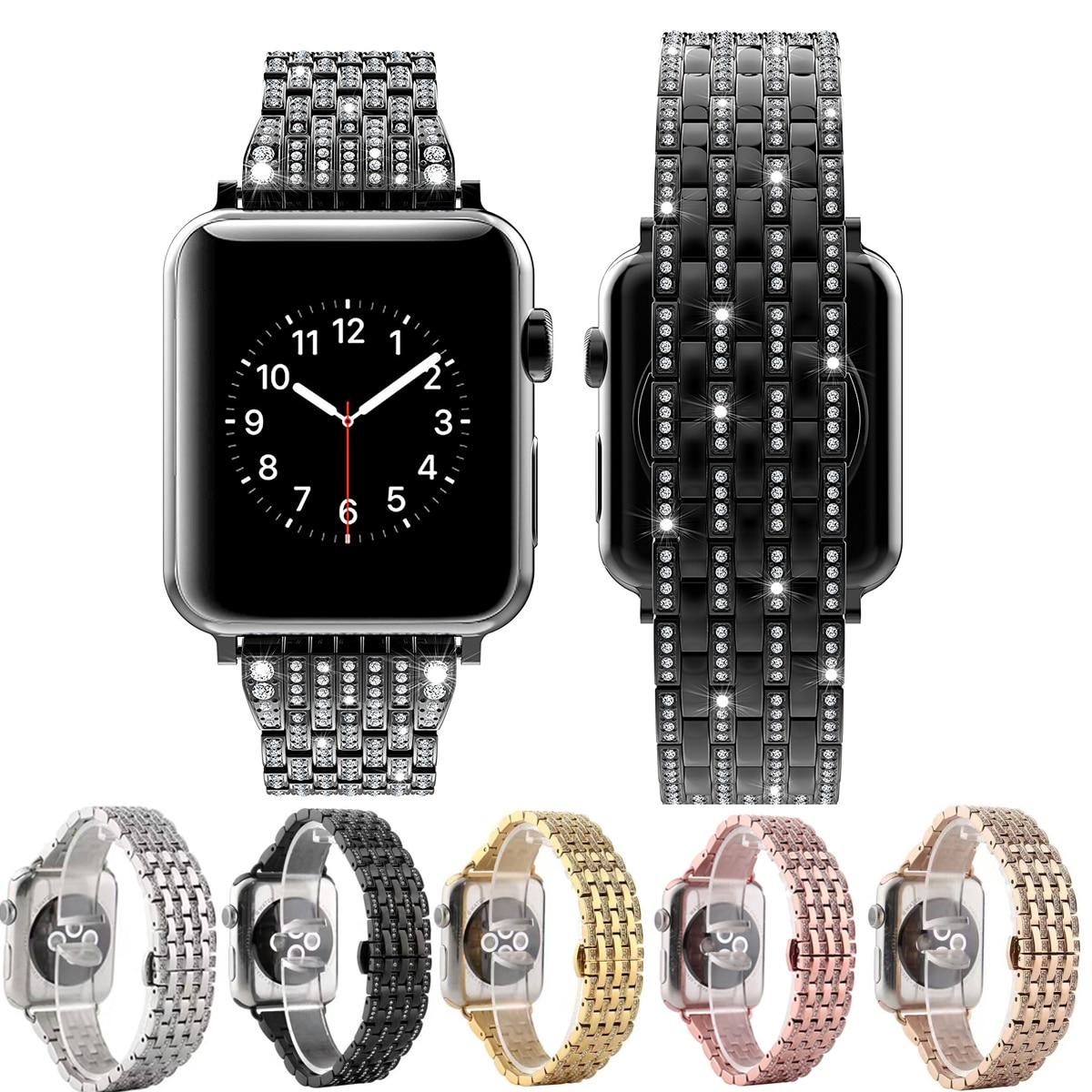 Di lusso Del Diamante Della Vigilanza di Banda per Apple Osservare 40mm 44mm 38mm 42mm Wristband Cinturino In Acciaio iWatch serie 4 3 2 1 Braccialetto