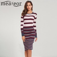 Meaneor 2017 New Autumn Winter Striped Sweater Dress Women Casual Long Sleeve O Neck Knit Warm
