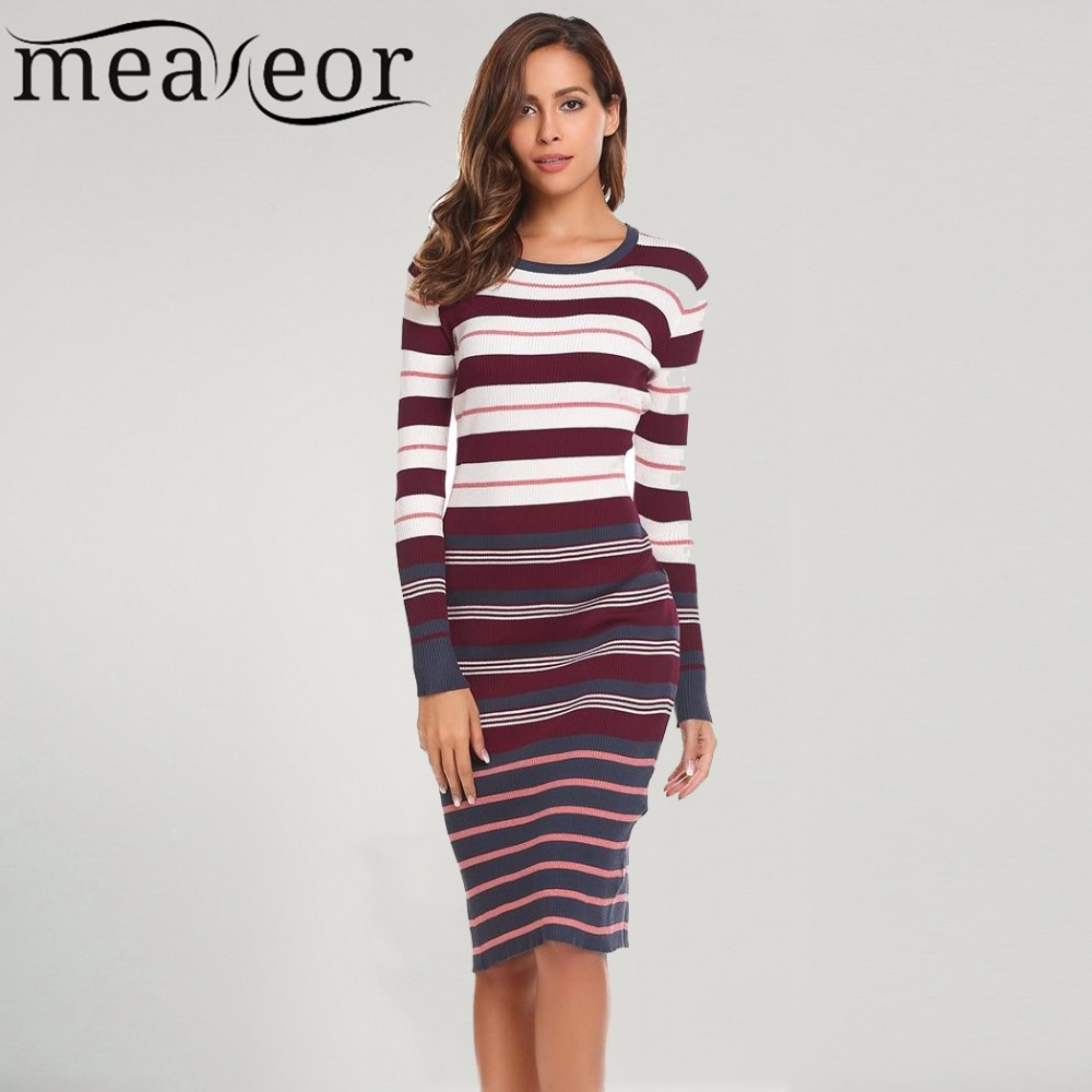 Meaneor 2017 New Autumn Winter Striped Sweater Dress Women Casual Long Sleeve O Neck Knit Warm Soft Slim Sexy Sweaters Dresses