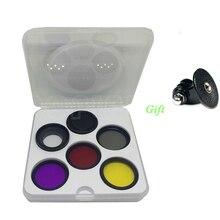 7 in 1 37mm CPL FDA UV ND4 Crimson Yellow Sea Diving Filter + Ring + Lens Cap For Gopro Hero three+ four three plus