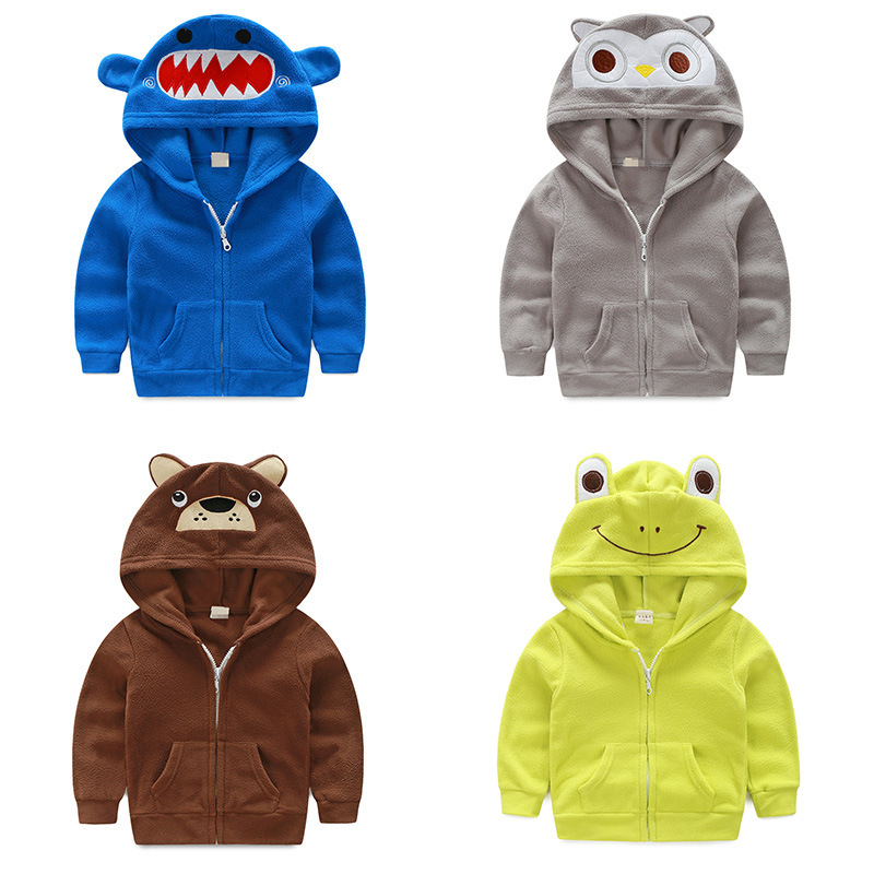 Baby Boys Cotton Hoodies Coat For Spring Autumn Casual Zipper Jacket Children Clothes Cute Cartoon Kids Outerwear Tops Clothing