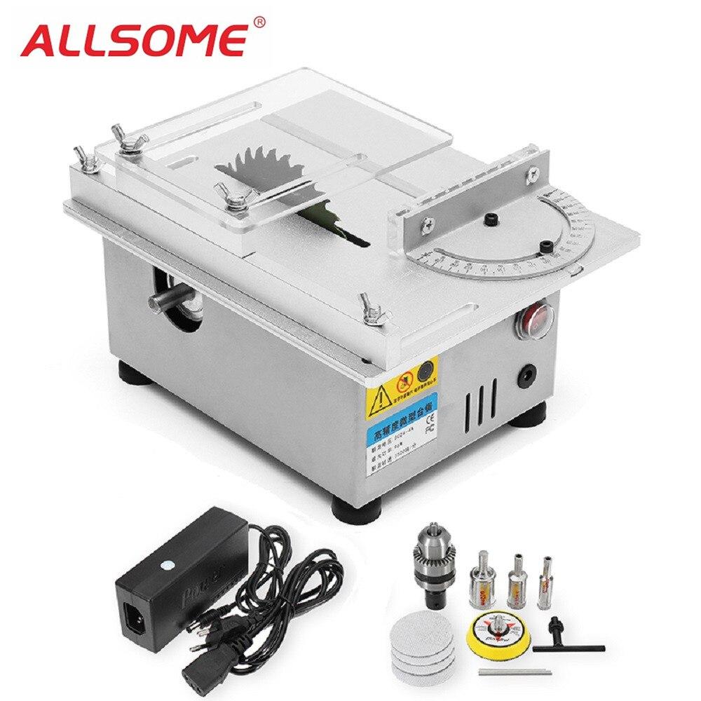ALLSOME T4 Mini Da Tavolo Seghe Lavorazione del Legno Tornio Elettrico Lucidatore Grinder FAI DA TE Modello di Taglio Seghe HT2256
