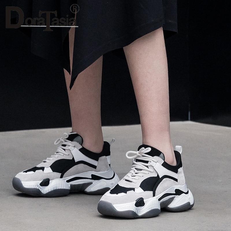 Partie Plat Papa Chaussures Chaude En À Printemps Vache Appartements Nouveau Compensées Lacets Semelles Suède Ins Doratasia Sneakers Luxe Femme Cuir noir Beige De UAqgwC