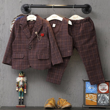 2016 Autumn Korean version boys plaid three piece suit coat and pant and vest for 2
