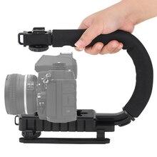 Lightdow mini u forma lanterna ação estabilizador dslr camera dv camcorder vídeo titular pega o flash bracket l3fe
