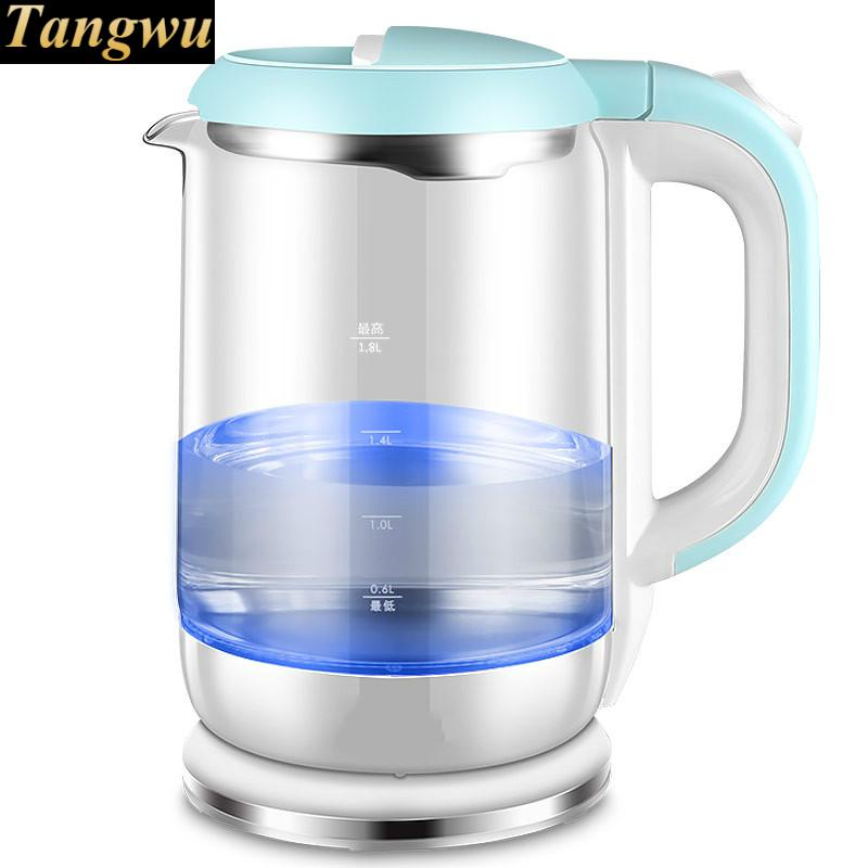 household glass electric kettle automatically cut off the 304 stainless steel electric kettle the stainless steel automatically cut off the electric with 1 8l