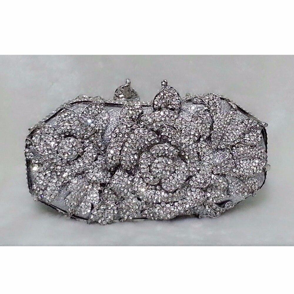 ФОТО 1514S Crystal Floral Flower Rose Wedding Bridal Party Night hollow Metal Evening purse clutch bag case box handbag
